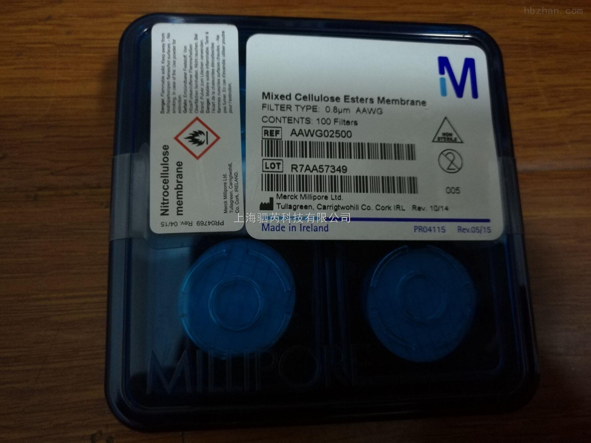 Millipore密理博混合纤维素网格膜孔径0.8umAAWG02500