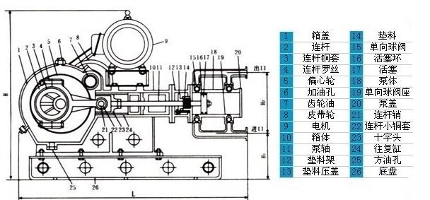 wbr耐高温电动往复泵结构图;