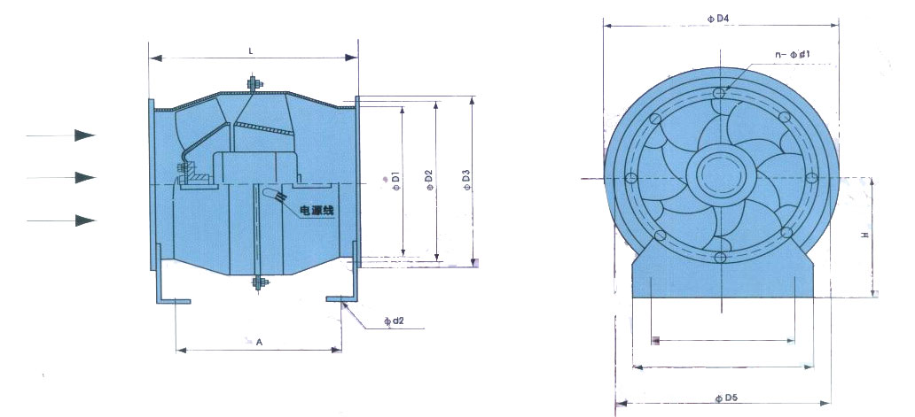 斜流风机|管道式斜流风机|SJG、FSJG系列斜流式管道风机描述: 1、 SJG(钢制)系列高效低噪斜流式管道风机兼有离心风机压力系数较高和轴流式风机流量系数较高的特点,同时具有高效区宽广的特点。其结构简单,进风和出风方向位于同一轴线上,进出口尺寸相同并有与相同直径的风管相联接的法兰。可替代低压离心式风机,节省投资和占地,简化工程设计,方便安装,在轴流式风机的压力满足不了要求的管道通风场合使用斜流式管道风机式最佳的选择。 2、斜流式管道风机与离心式风机金额轴流风机相比较,具有独特的直线型结构和介于两者之间