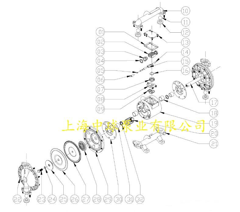 qby-50不锈钢气动隔膜泵结构图图片