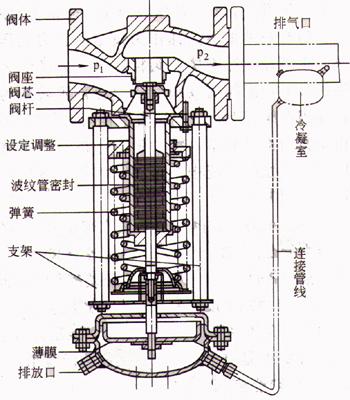 自力式减压阀 内部结构简图: ◆自力式减压阀 主要性能参数选型