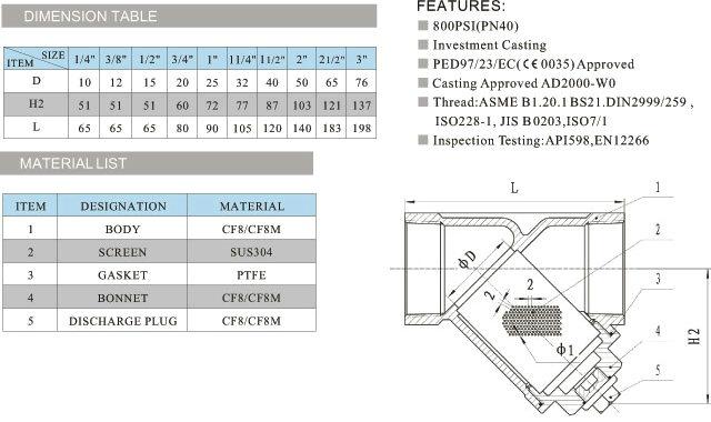 >内螺纹过滤器    内螺纹过滤器,不锈钢 内螺纹过滤器尺寸结构图